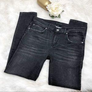 Zara Black Distressed Studded Skinny Jeans Sz 34